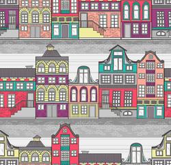 Cute Amsterdam houses seamless pattern