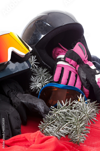 Hat, gloves and goggles
