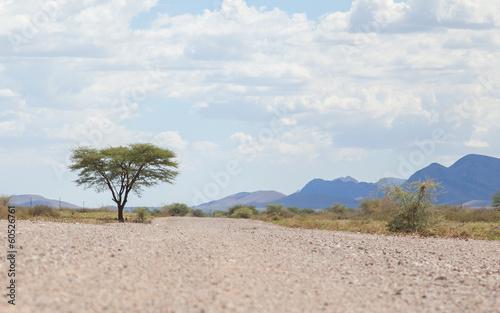 Aluminium Woestijn Gravel road in Namibia
