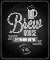 beer menu design house chalkboard background