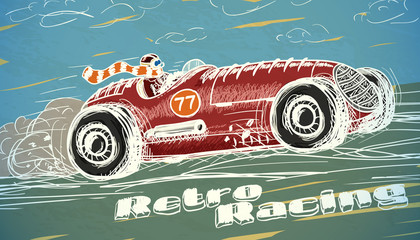 Retro racing car poster