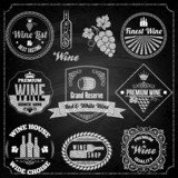 wine set elements chalkboard