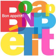 """Mosaïque de Lettres """"BON APPETIT"""" (gastronomie carte menu"""