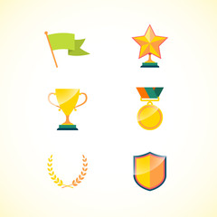 Set of achievement badges