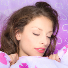 romantic beautifull girl sleeping in bed