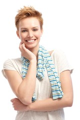Portrait of confident short hair woman smiling