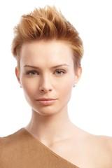 Closeup portrait of trendy woman