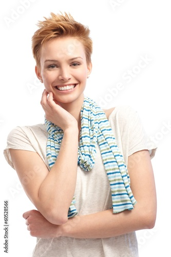 Portrait of confident short hair woman smiling