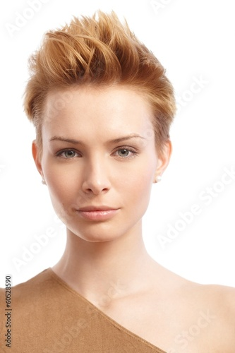 Closeup portrait of trendy woman