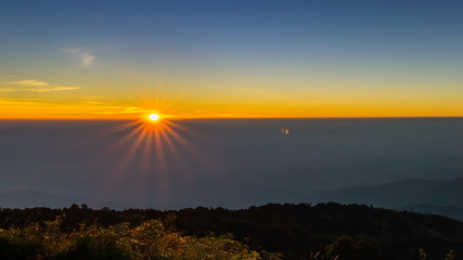 time lapse sunrise on valley of thailand (zoom out)