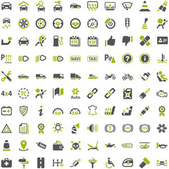 Top Green Grey Icons - Automobile Technology