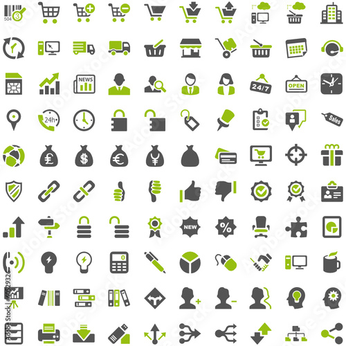 Top Green Grey Icons - Work Business Internet