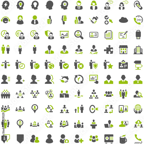 Top Green Grey Icons - People Work Business