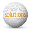 """SOLUTIONS"" Tag Cloud Globe (innovation business projects ideas)"