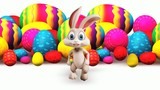 Easter happy bunny walking with big color eggs