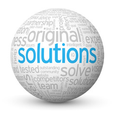 """""""SOLUTIONS"""" Tag Cloud Globe (business projects innovation ideas)"""