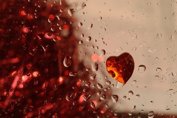 Valentine red heart with drops of water
