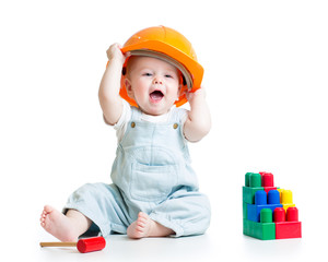 baby playing with building blocks toy
