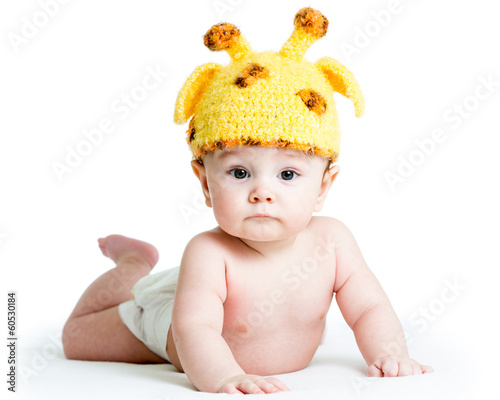 funny infant baby boy isolated on white