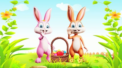 Easter happy bunny with eggs basket