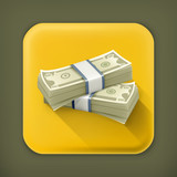 Stack of Dollars, long shadow vector icon