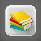 Stack of textbooks, long shadow vector icon