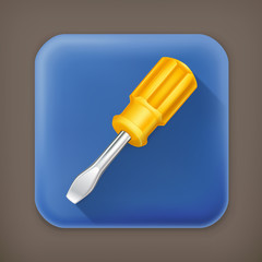 Screwdriver, long shadow vector icon