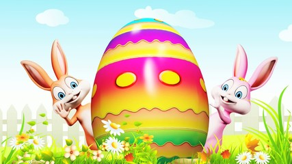 happy bunny with color egg