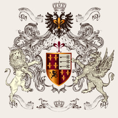 Beautiful heraldic design with shield, crown, griffin and lion