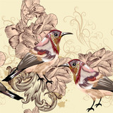 Beautiful seamless vector wallpaper pattern with birds