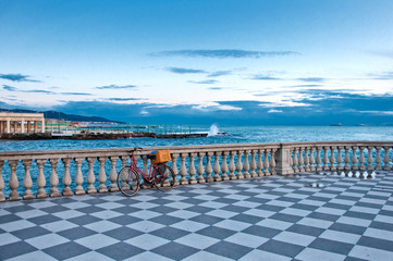Mascagni terrace and sea in Livorno - Tuscany