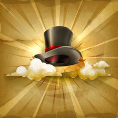 Cylinder hat, old style vector background