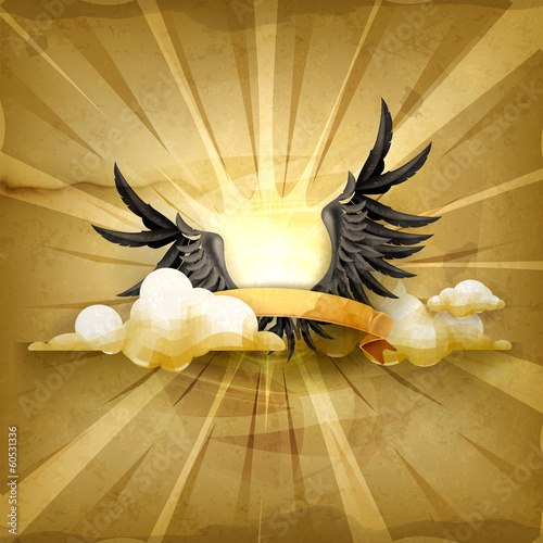 Black wings, old style vector background