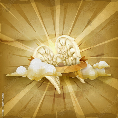 Angel wings, old style vector background