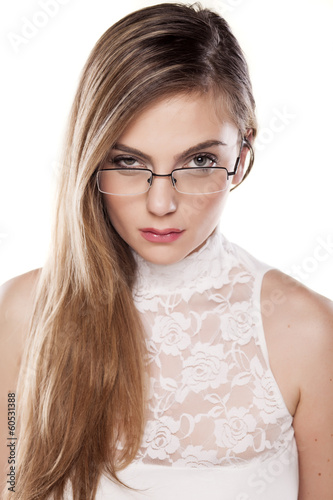 suspicious girl with glasses and questionable gestures