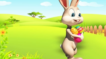 Easter happy bunny with eggs