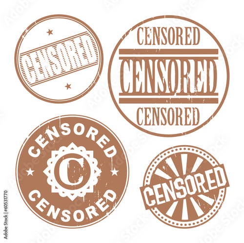 Grunge rubber stamp set with the text Censored, vector
