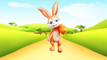Happy bunny with carrot and walking
