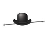 Bowler hat and elegant walking stick
