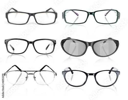 Eye Glasses collection on White Background