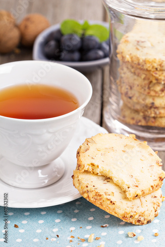 Walnut cookies and tea