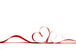 canvas print picture - Red heart ribbons
