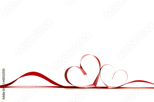 canvas print picture Red heart ribbons