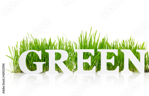 "Word ""Green"" with fresh grass isolated on white"