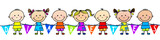 Illustration of children holding a diabetes banner