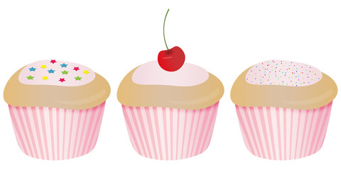 Illustration of three decorated cupcakes