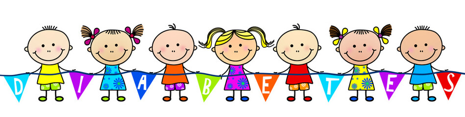 Illustration of children holding a diabetes banner