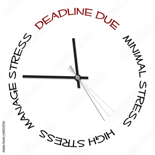 Clock face depicting stress and deadlines