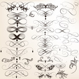Collection of vector decorative calligraphic flourishes for desi