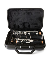Clarinet musical instrument in carry case